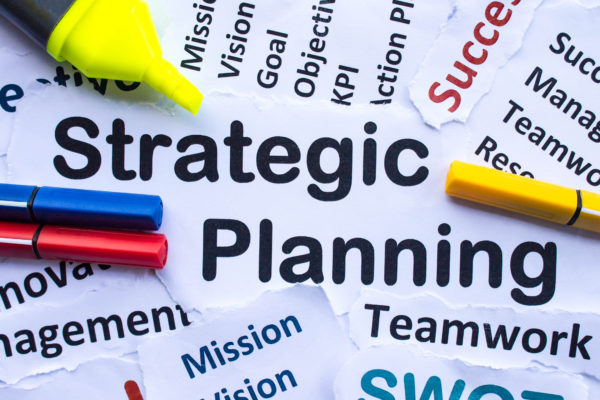 Strategic planning key words with markers