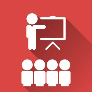 Training icon on red background